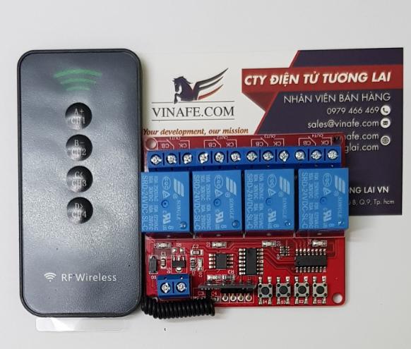 Module Thu Phát RF Tự Học 4 Relay 24V + Remote