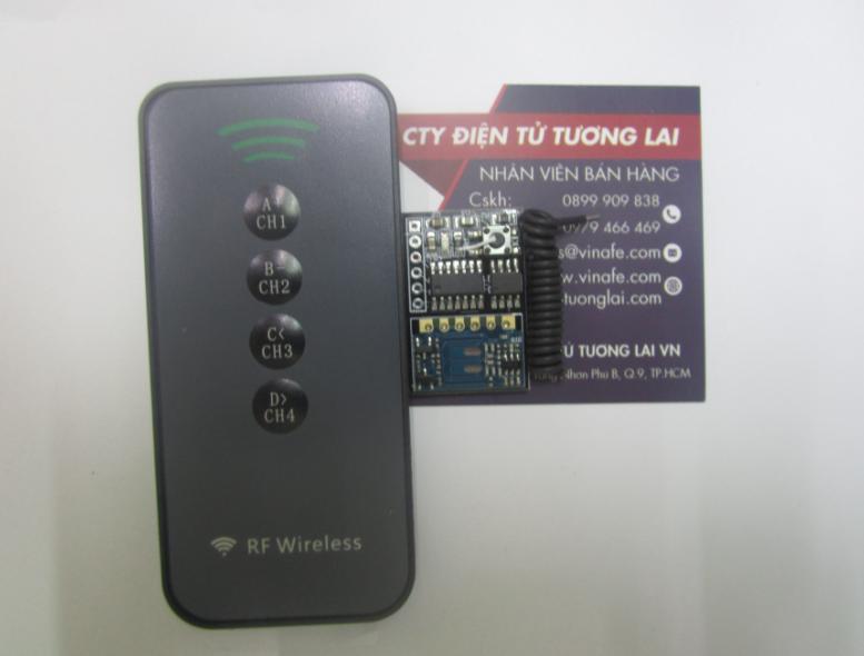 Bộ Module RF 4 Kênh Tự Học 433 Mhz + Remote 4 Nút Nhấn